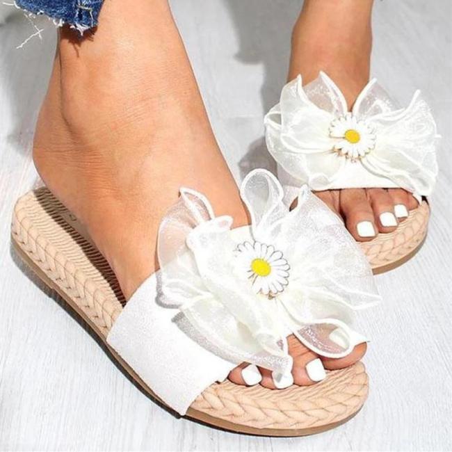 Floral Pattern Peep Toe Slides Flat Sandals