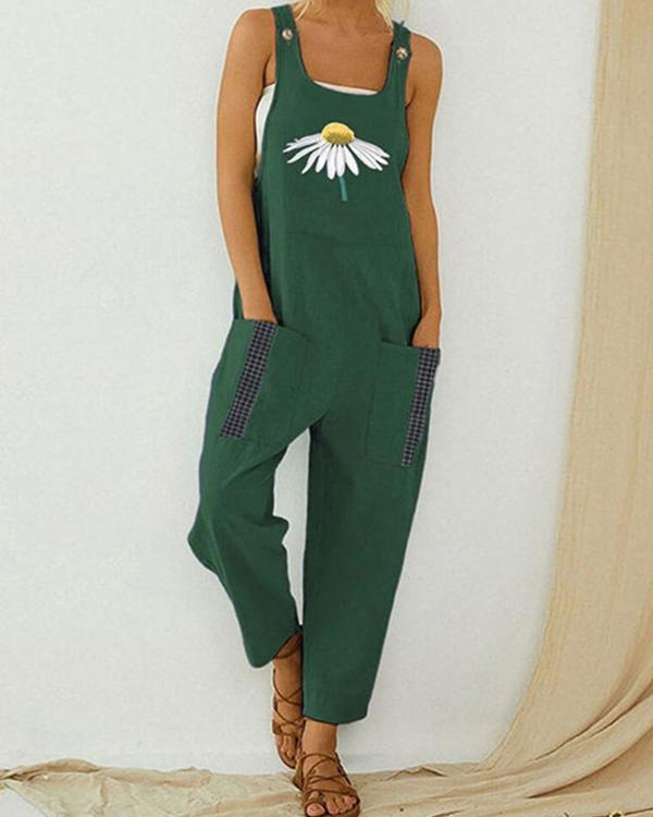Flower Print Casual Jumpsuit For Women