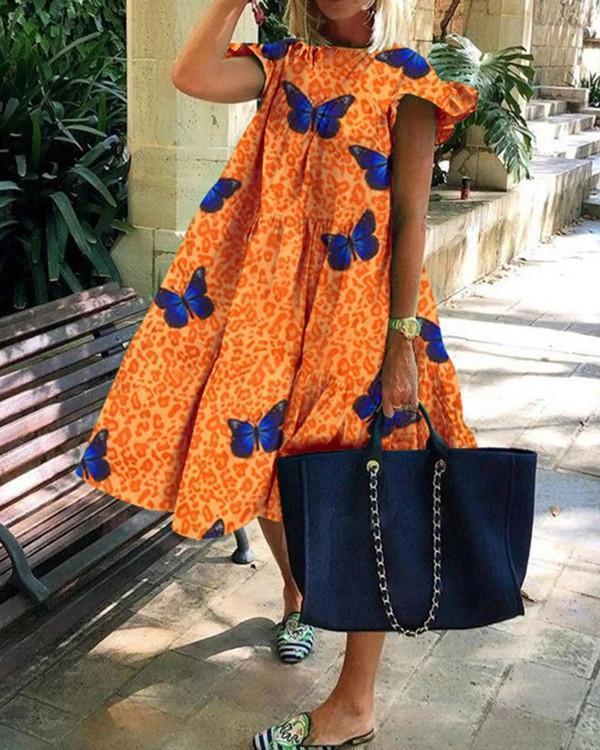 Colorful Geometric Print Loose Fluffy Midi Dress