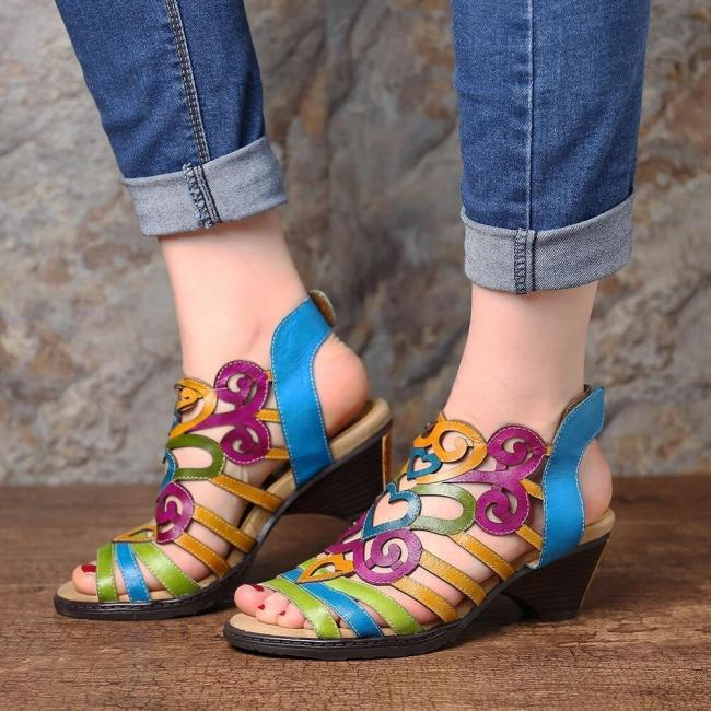 Super Comfy Hollow  Love Shape Soft Hook Loop Low Heel Sandals