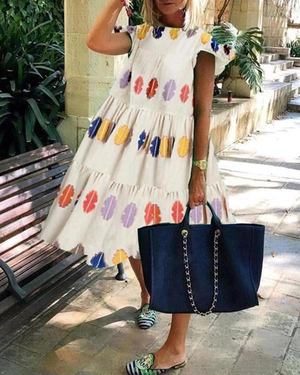 Colorful Geometric Print Loose Fluffy Midi Dress