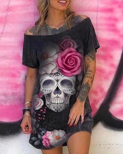 Skull Floral Print Sleeveless Vintage Mini Dress
