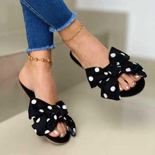 Women Daily Flat Heel Bow Sandals