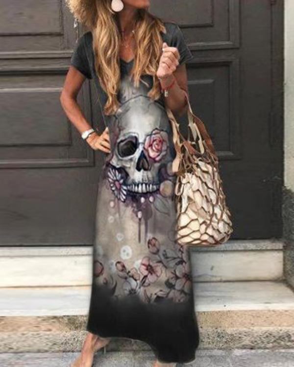 Skull Floral Print Sleeveless Casual Maxi Dress
