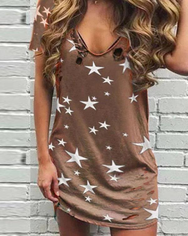 Star Print Sleeveless Casual Mini Dress