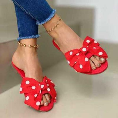 Women Daily Flat Heel Bow Sandals