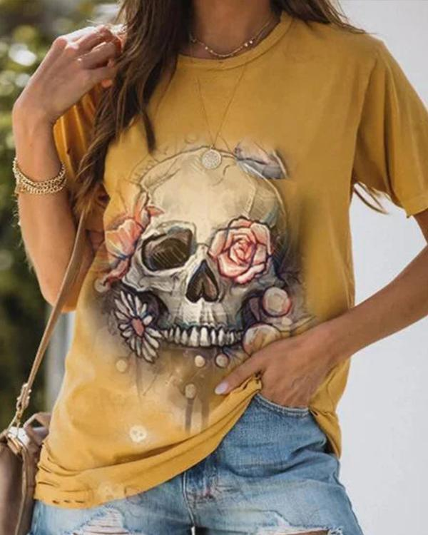Punk Style Skull Pattern Statement Shift Floral Shirts & Tops