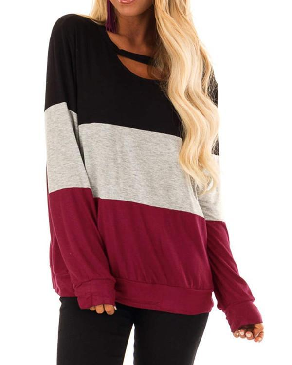 Women Long Sleeve Scoop Neck Stitching Casual Top