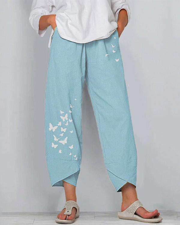 Women Linen Shift Casual Printed Floral Pants