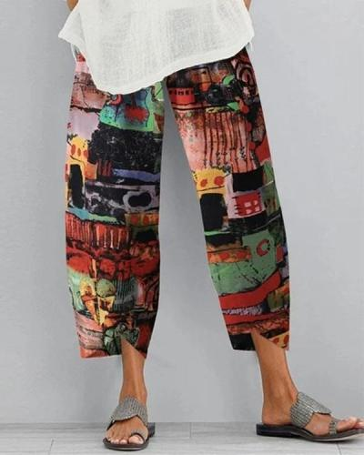 Tribal Print Casual Shift Cotton Pants
