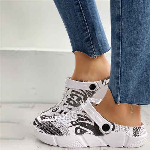 Letter Print Hollow Out Flat Sandals