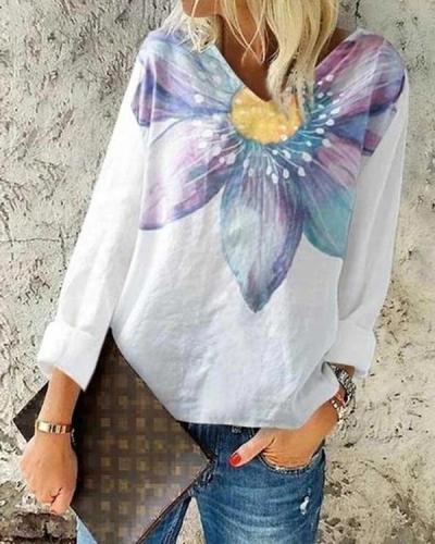 Women Long Sleeve V-neck Floral Printed Top