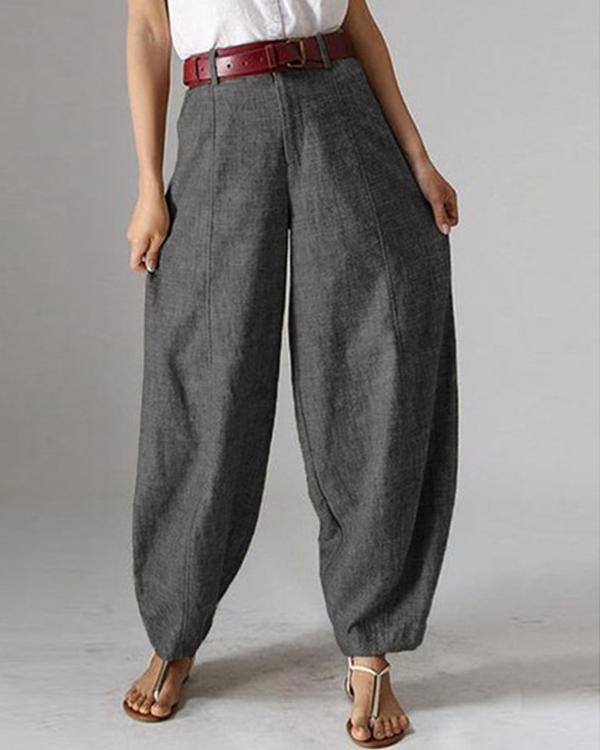 Casual Solid Color Pockets Harem Pants For Women