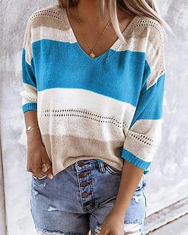 Flodress Striped Hollow Flimsy Sweater