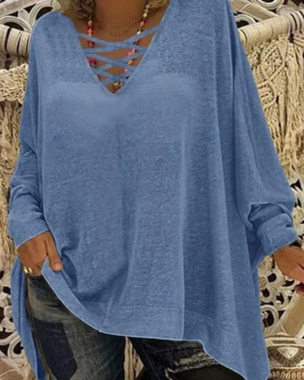 Solid Round Neckline Casual Shift Blouses Long Sleeve Plus Blouses