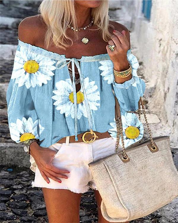 Print Floral Off the Shoulder Long Sleeves Casual Blouses
