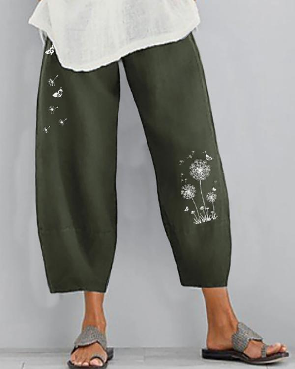 Women Linen Shift Casual Floral Pants