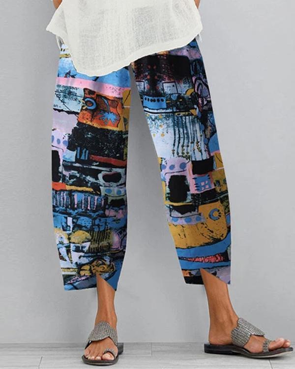 Tribal Print Casual Shift Cotton Pants