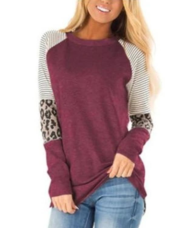 Women Long Sleeve Turtle Neck Camouflage StitchingStriped Casual Top