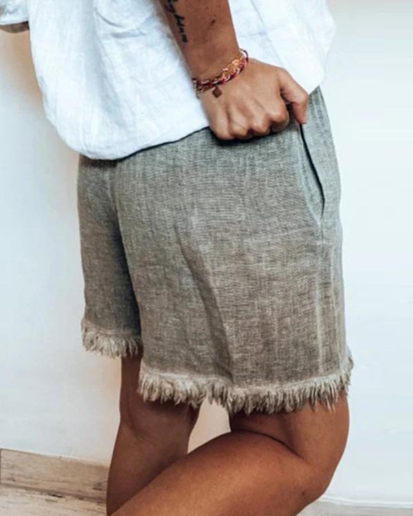 Deep Khaki Simple Pockets Pants