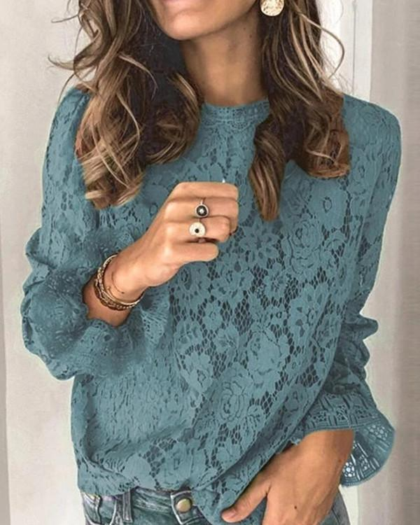 Women Long Sleeve Scoop Neck Lace Solid Color Top