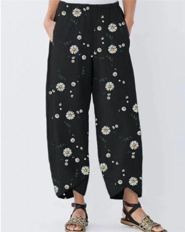 Floral Printed  Loose Cotton and Linen Casual Pants