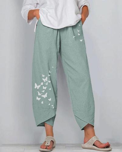 Women Linen Shift Casual Printed Floral Pants