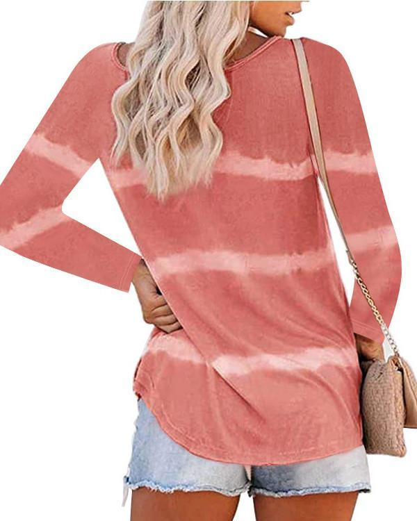 Women Long Sleeve Scoop Neck Striped Casual Top