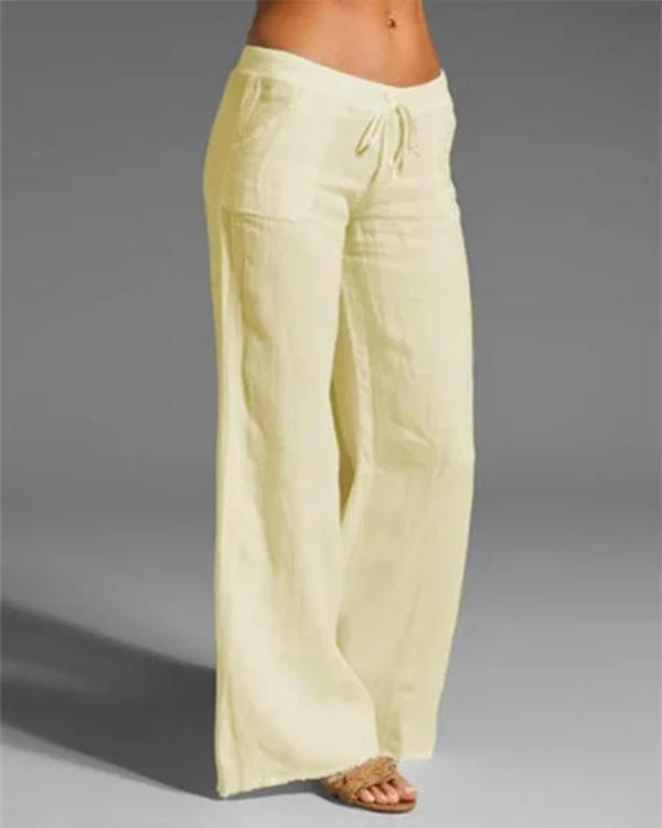 Pockets Paneled Lace-Up Cotton-Blend Casual Pants