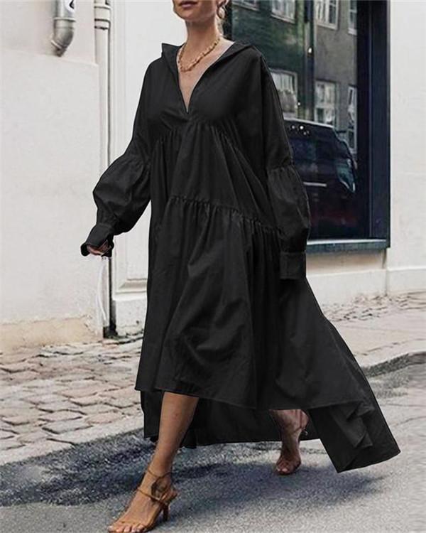 Solid V Neck Woman Fashion Maxi Dresses