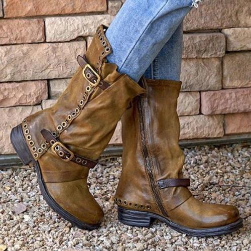Women Belt Low Heel Mid Boots