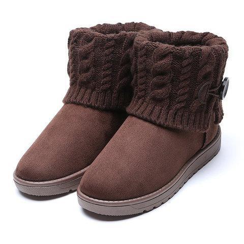 Vintage Winter Button Low Heel Soft Slip-On Snow Boots