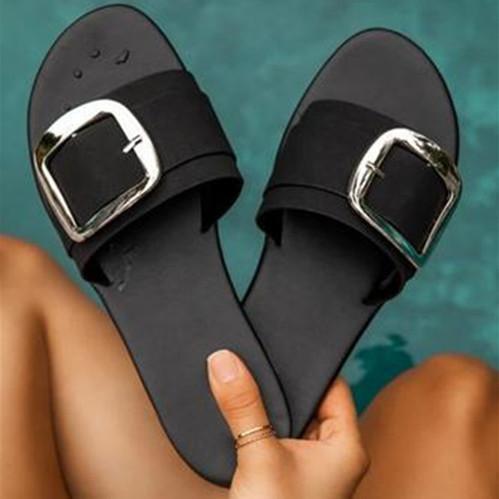 Flat Heel Buckle Sandals