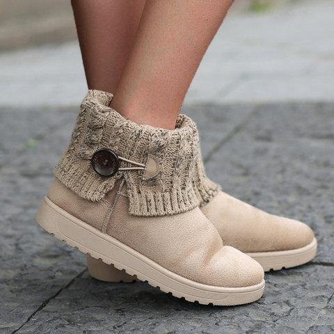 Vintage Winter Button Low Heel Soft Slip-On Snow Boots