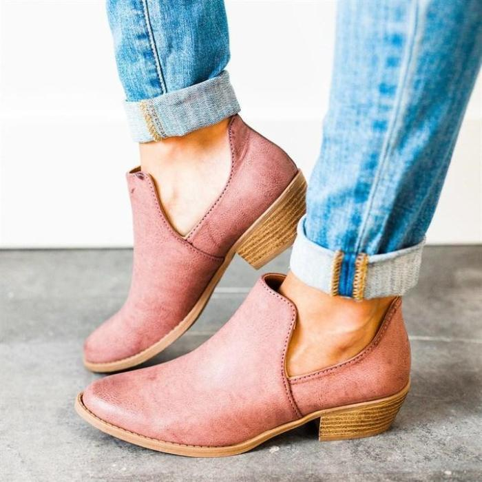 Women Cut Out Ankle Slip-On Booties Low Heel Cute Short Boots