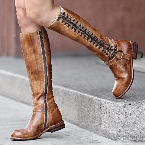 Retro Lace-up Boots Casual Comfortable Knee Boots