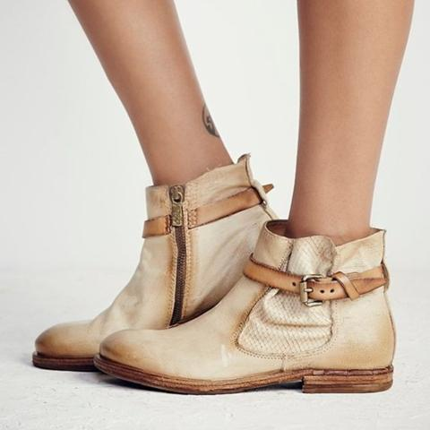 Vintage All Season Low Heel Ankle Boots Daily Adjustable Buckle PU Booties