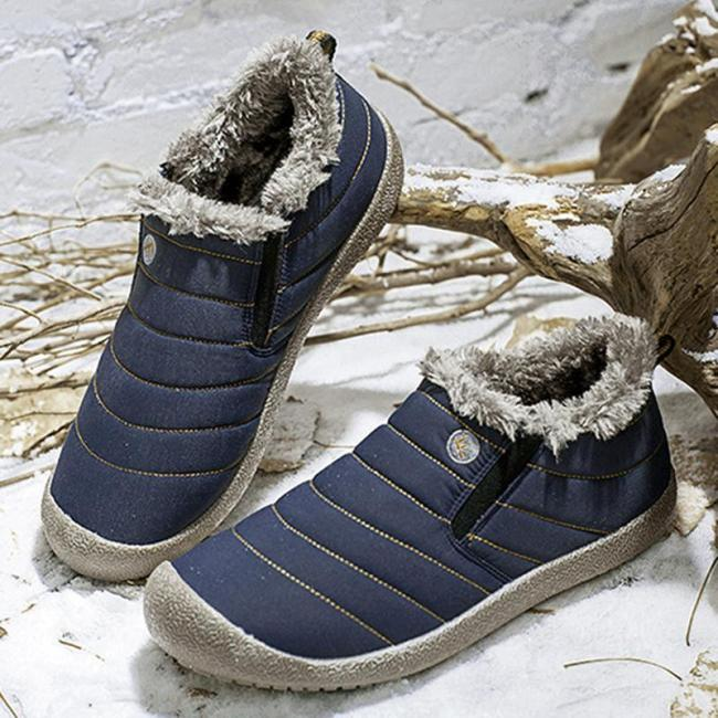 Womens Large Size Unisex Waterproof Fur Lining Slip On Snow Boots