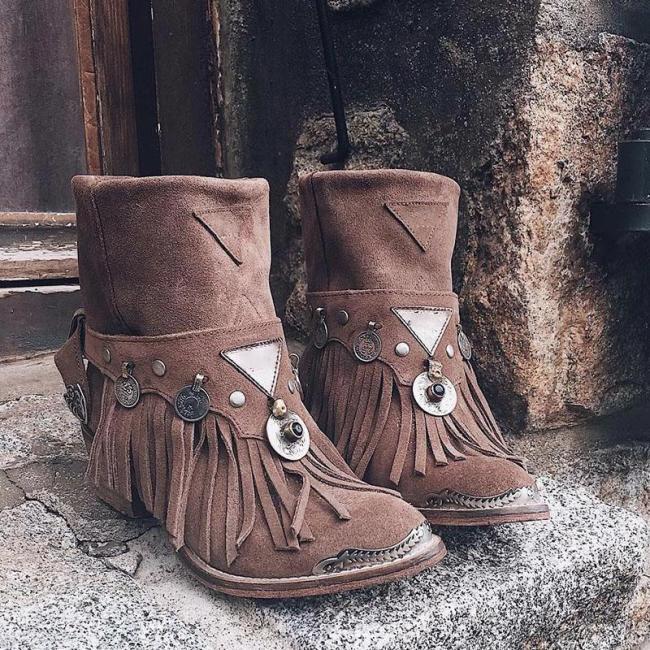Autumn/Winter Tassel Fringe Metal Ring Trim Chunky Heels Ankle Boots