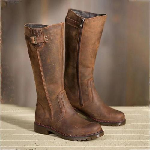 Women Round Toe Zipper Low Heel Pu Casual Boots