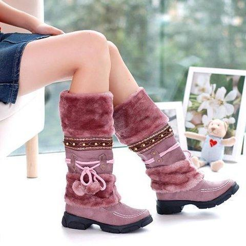 Furry Mid-Calf Women Suede Ski Boots
