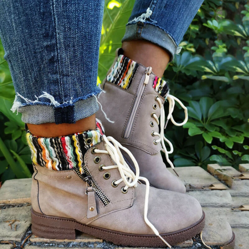 Women Fashion Zipper Hit Color Woolen Split Joint Lace Up Platform Boots