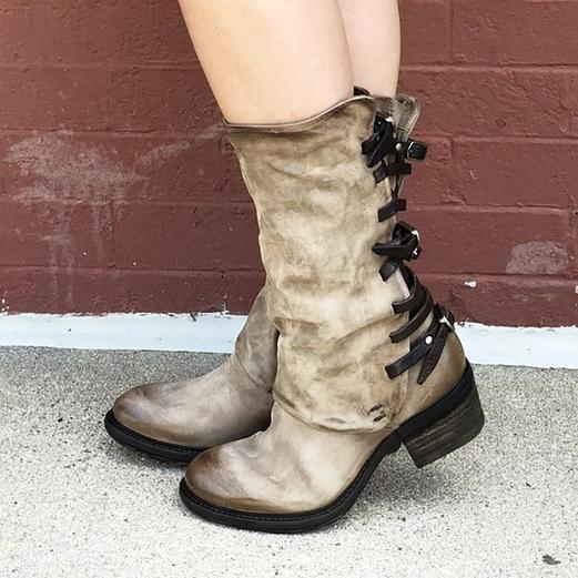 Vintage Zipper Low Heel Boots Back Straps Faux Leather Mid-calf Boots
