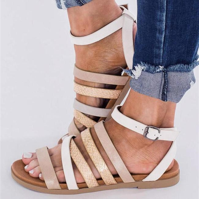 Cross Buckle Strap Flat Sandals
