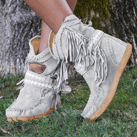 Tassel Faux Suede Winter Boots