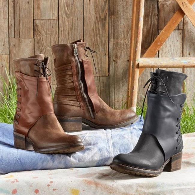 Vintage Chunky Heels Zipper Boots Cool Bandage Martin Boots