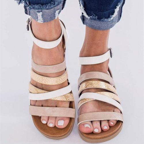 Cross Buckle Strap Flat Sandals