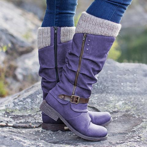 Women Casual Winter Knitted Zipper Mid Calf Boots