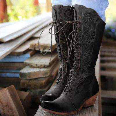 Lace-Up Winter Knee-High Boots Chunky Heel Artificial Leather Boots