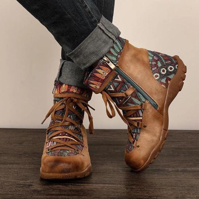 Retro Casual Splicing Jacquard Lace Up  Comfy Flat Boots